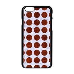 Circles1 White Marble & Reddish Brown Leather (r) Apple Iphone 6/6s Black Enamel Case by trendistuff