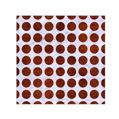 Circles1 White Marble & Reddish Brown Leather (r) Small Satin Scarf (square) by trendistuff