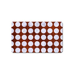 Circles1 White Marble & Reddish Brown Leather Magnet (name Card) by trendistuff