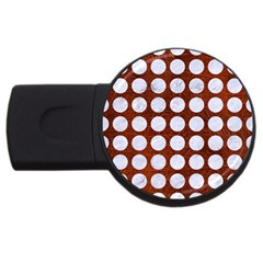 Circles1 White Marble & Reddish Brown Leather Usb Flash Drive Round (4 Gb) by trendistuff