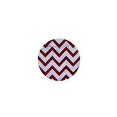 Chevron9 White Marble & Reddish Brown Leather (r) 1  Mini Buttons by trendistuff