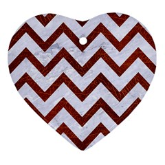 Chevron9 White Marble & Reddish Brown Leather (r) Ornament (heart) by trendistuff