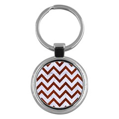 Chevron9 White Marble & Reddish Brown Leather (r) Key Chains (round)  by trendistuff