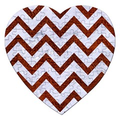 Chevron9 White Marble & Reddish Brown Leather (r) Jigsaw Puzzle (heart) by trendistuff