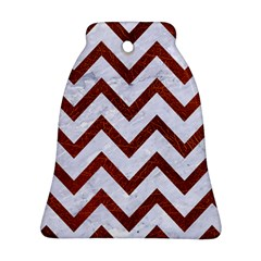 Chevron9 White Marble & Reddish Brown Leather (r) Ornament (bell) by trendistuff