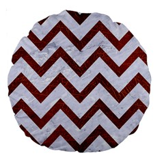 Chevron9 White Marble & Reddish Brown Leather (r) Large 18  Premium Round Cushions by trendistuff