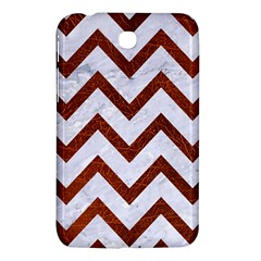 Chevron9 White Marble & Reddish Brown Leather (r) Samsung Galaxy Tab 3 (7 ) P3200 Hardshell Case  by trendistuff