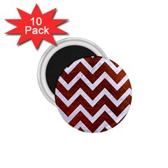 Chevron9 White Marble & Reddish Brown Leather 1 75  Magnets (10 Pack)  by trendistuff