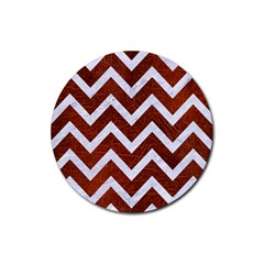 Chevron9 White Marble & Reddish Brown Leather Rubber Round Coaster (4 Pack)  by trendistuff