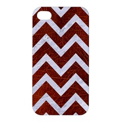 Chevron9 White Marble & Reddish Brown Leather Apple Iphone 4/4s Hardshell Case by trendistuff