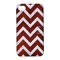 Chevron9 White Marble & Reddish Brown Leather Apple Iphone 4/4s Hardshell Case With Stand by trendistuff