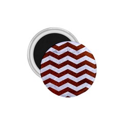 Chevron3 White Marble & Reddish Brown Leather 1 75  Magnets by trendistuff