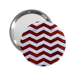 Chevron3 White Marble & Reddish Brown Leather 2 25  Handbag Mirrors by trendistuff