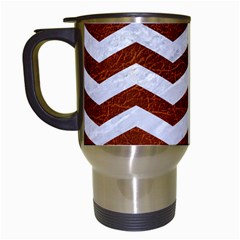 Chevron3 White Marble & Reddish Brown Leather Travel Mugs (white) by trendistuff