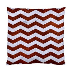 Chevron3 White Marble & Reddish Brown Leather Standard Cushion Case (one Side) by trendistuff