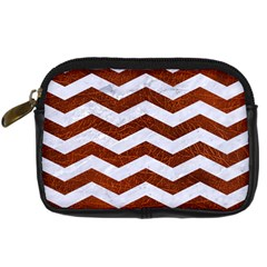 Chevron3 White Marble & Reddish Brown Leather Digital Camera Cases