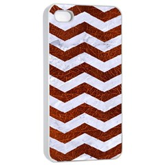 Chevron3 White Marble & Reddish Brown Leather Apple Iphone 4/4s Seamless Case (white) by trendistuff