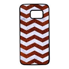 Chevron3 White Marble & Reddish Brown Leather Samsung Galaxy S7 Black Seamless Case by trendistuff