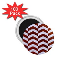 Chevron2 White Marble & Reddish Brown Leather 1 75  Magnets (100 Pack)  by trendistuff
