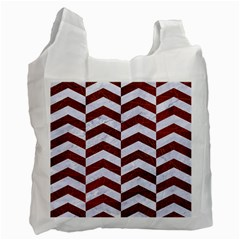 Chevron2 White Marble & Reddish Brown Leather Recycle Bag (two Side)  by trendistuff