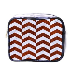 Chevron2 White Marble & Reddish Brown Leather Mini Toiletries Bags by trendistuff
