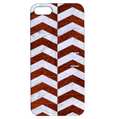 Chevron2 White Marble & Reddish Brown Leather Apple Iphone 5 Hardshell Case With Stand