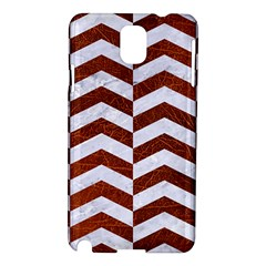 Chevron2 White Marble & Reddish Brown Leather Samsung Galaxy Note 3 N9005 Hardshell Case by trendistuff