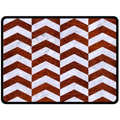 Chevron2 White Marble & Reddish Brown Leather Double Sided Fleece Blanket (large)  by trendistuff
