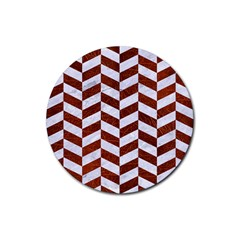 Chevron1 White Marble & Reddish Brown Leather Rubber Coaster (round)  by trendistuff