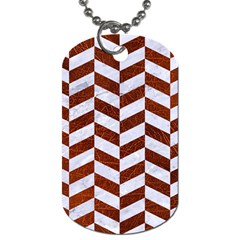 Chevron1 White Marble & Reddish Brown Leather Dog Tag (one Side) by trendistuff