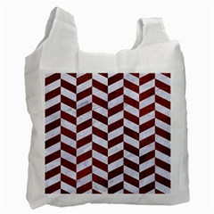 Chevron1 White Marble & Reddish Brown Leather Recycle Bag (two Side)  by trendistuff