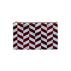 Chevron1 White Marble & Reddish Brown Leather Cosmetic Bag (small)  by trendistuff