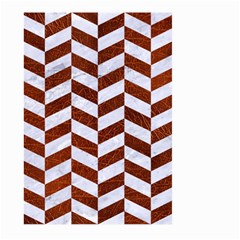 Chevron1 White Marble & Reddish Brown Leather Large Garden Flag (two Sides) by trendistuff