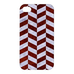 Chevron1 White Marble & Reddish Brown Leather Apple Iphone 4/4s Premium Hardshell Case by trendistuff