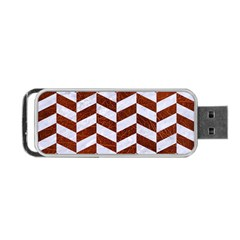 Chevron1 White Marble & Reddish Brown Leather Portable Usb Flash (one Side)