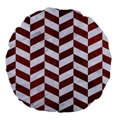 Chevron1 White Marble & Reddish Brown Leather Large 18  Premium Round Cushions by trendistuff