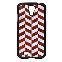 Chevron1 White Marble & Reddish Brown Leather Samsung Galaxy S4 I9500/ I9505 Case (black) by trendistuff