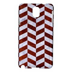 Chevron1 White Marble & Reddish Brown Leather Samsung Galaxy Note 3 N9005 Hardshell Case by trendistuff