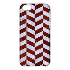 Chevron1 White Marble & Reddish Brown Leather Apple Iphone 5c Hardshell Case by trendistuff