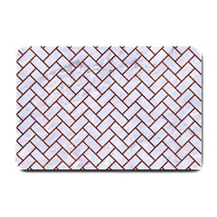 Brick2 White Marble & Reddish Brown Leather (r) Small Doormat  by trendistuff