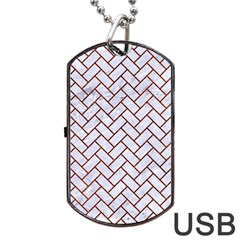 Brick2 White Marble & Reddish Brown Leather (r) Dog Tag Usb Flash (two Sides) by trendistuff