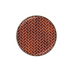 Brick2 White Marble & Reddish Brown Leather Hat Clip Ball Marker (4 Pack) by trendistuff