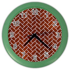 Brick2 White Marble & Reddish Brown Leather Color Wall Clocks by trendistuff