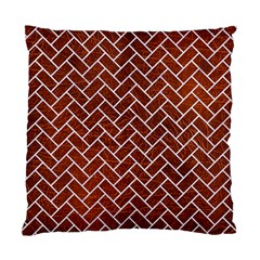 Brick2 White Marble & Reddish Brown Leather Standard Cushion Case (one Side) by trendistuff