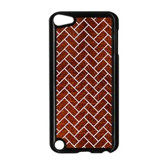 Brick2 White Marble & Reddish Brown Leather Apple Ipod Touch 5 Case (black) by trendistuff