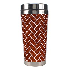 Brick2 White Marble & Reddish Brown Leather Stainless Steel Travel Tumblers by trendistuff