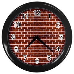 Brick1 White Marble & Reddish Brown Leather Wall Clocks (black) by trendistuff