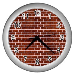 Brick1 White Marble & Reddish Brown Leather Wall Clocks (silver)  by trendistuff