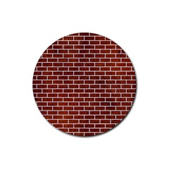 Brick1 White Marble & Reddish Brown Leather Rubber Coaster (round)  by trendistuff