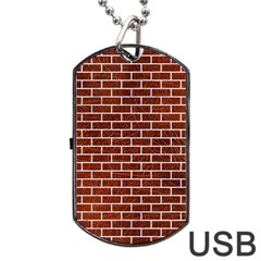 Brick1 White Marble & Reddish Brown Leather Dog Tag Usb Flash (one Side) by trendistuff